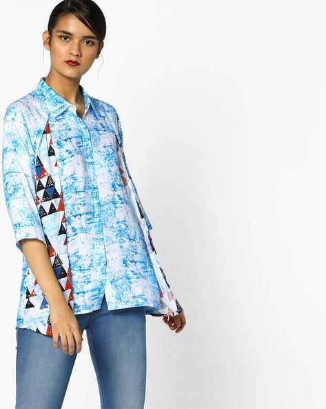 Printed Layered Top By PE IW Fusion ( Turq )