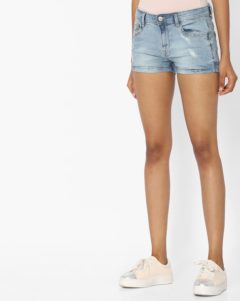 Lightly Washed & Distressed Denim Shorts By Pink Woman ( Blue )