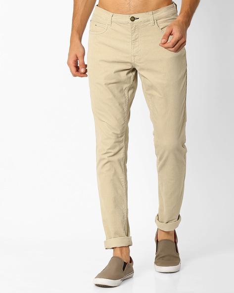 Slim Corduroy Chinos By NETPLAY ( Stone )