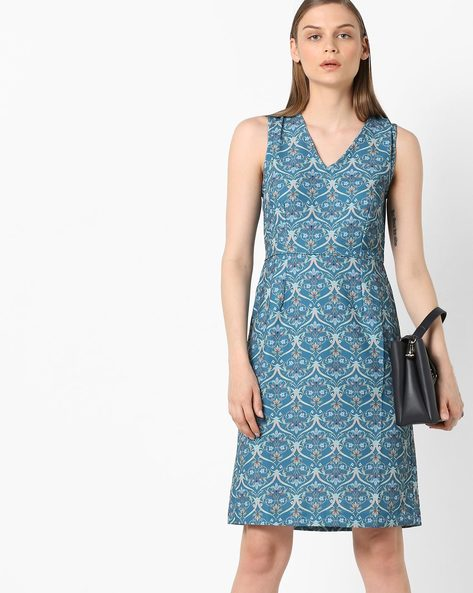 Floral Print Sheath Dress By Project Eve WW Work ( Turq )
