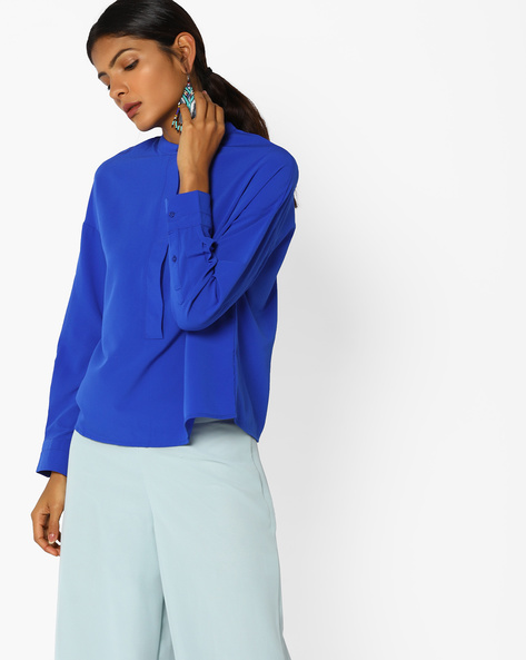 Open-Back Top With Tie-Up By AJIO ( Blue )