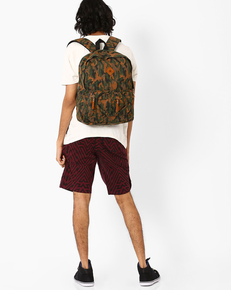 Camouflage Canvas Backpack By AJIO ( Olive )