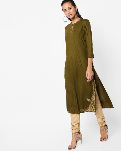 Straight Kurta With Zari Embroidery By AJIO ( Green )