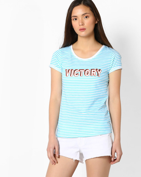 Striped T-shirt With Upturned Hems By TEAM SPIRIT ( Aqua )