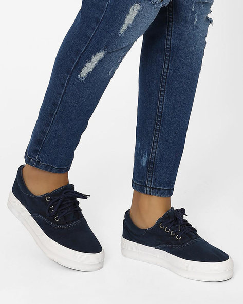Lace-Up Platform Sneakers By MFT Couture ( Navy )