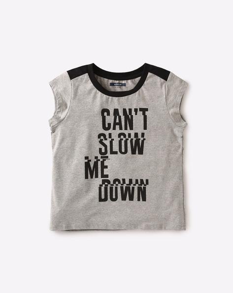 Graphic Print Crew-Neck T-shirt By AJIO Girl ( Greymelange )