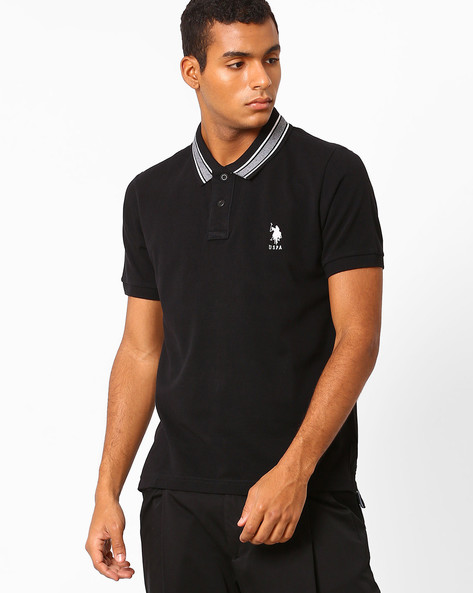 Polo T-Shirt With Striped Collar By US POLO ( Black )