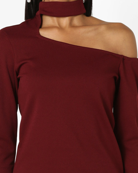 One-Shoulder Top With Choker Neckline By 20Dresses ( Maroon )