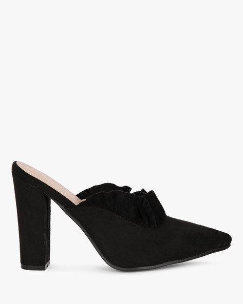 Ruffled Pointed-Toe Heeled Mules By MFT Couture ( Black )