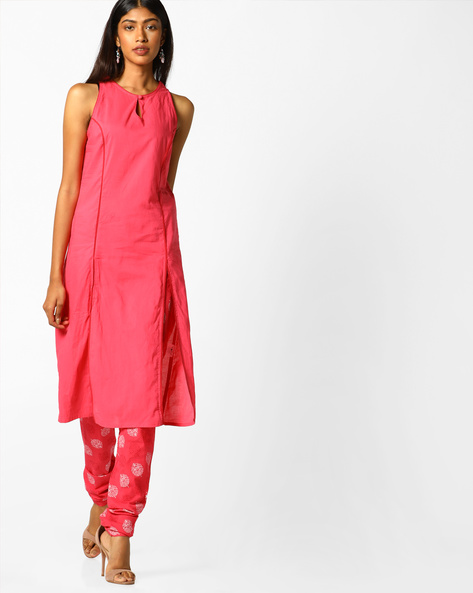 Sleeveless Kurta And Churidar Set By AJIO ( Coral )
