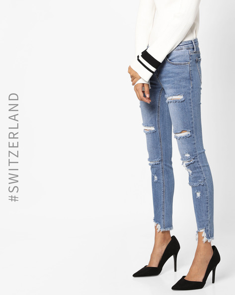 Distressed Jeans With Frayed Hems By TALLY WEiJL ( Darkblue )
