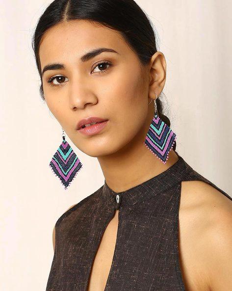 Beaded Dangler Earrings By Indie Picks ( Multi )