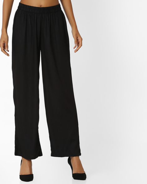 Palazzos With Elasticated Waist By OVI ( Black )