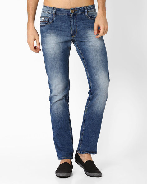 Lightly Washed Slim Fit Jeans By JOHN PLAYERS ( Blue )