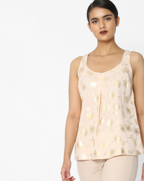 Foil Print Sleeveless Top By Oxolloxo ( Peach )