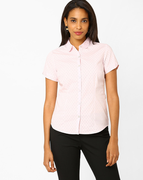Printed Poplin Shirt By Annabelle By Pantaloons ( Pink )