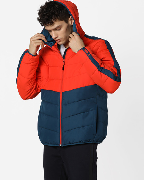 Padded Zip-Front Hooded Jacket By Puma ( Red )