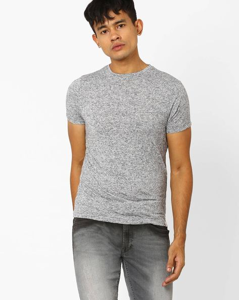 Crew-Neck Slim Fit T-shirt By Jack & Jones ( Black )