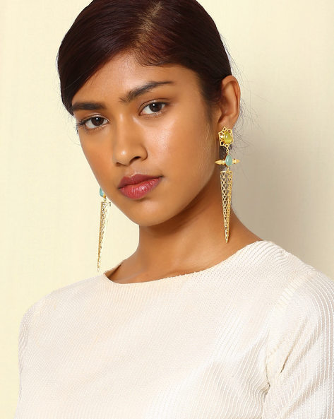 Gold-Plated Drop-Earrings With Cutwork & Stones By Indie Picks ( Multi )