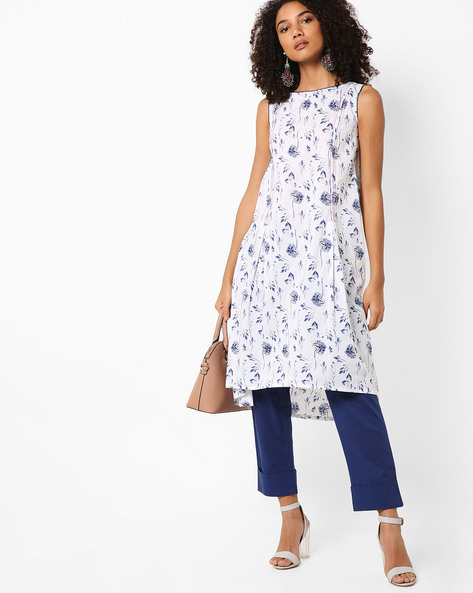 Printed Sleevless Kurta With Insert Pocket By AJIO ( White )