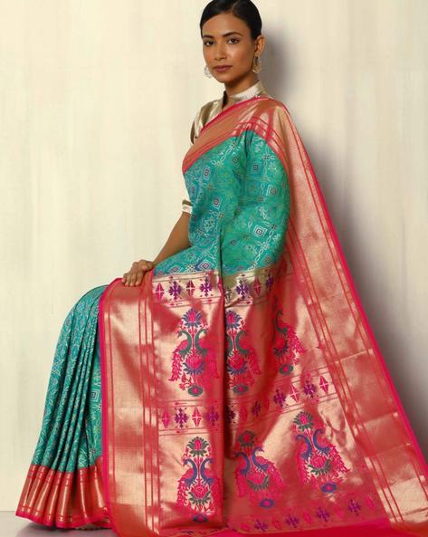 Patola Style Brocade South Silk Kadiyal Border Saree By Pretty Woman ( Green )