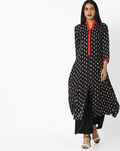 Printed Kurta With Contrast Button Placket By AYAANY ( Black )