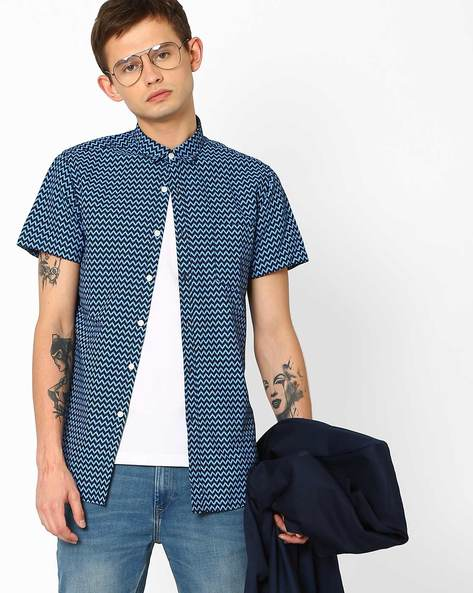 Cheveron Print Poplin Shirt By ADAMO LONDON ( Navy )