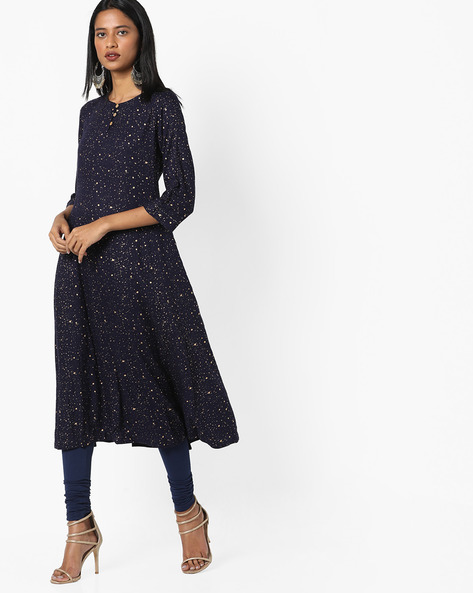 Splatter Print Flared Kurta By Project Eve IW Casual ( Indigo )