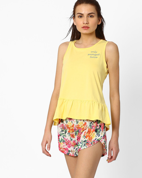 Sleeveless Lounge Top By AJIO ( Yellow )