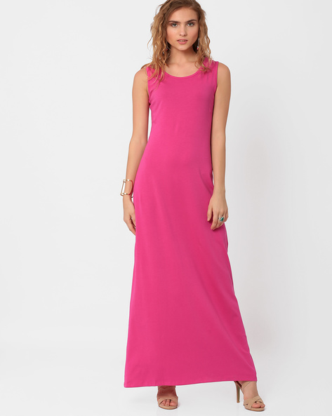 Sleeveless Maxi Dress By AJIO ( Pink )