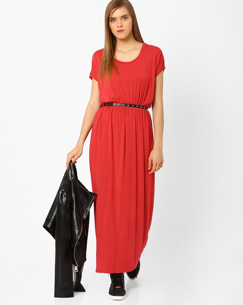 Belted Maxi Dress With Drop-Shoulders By CHEMISTRY ( Red )
