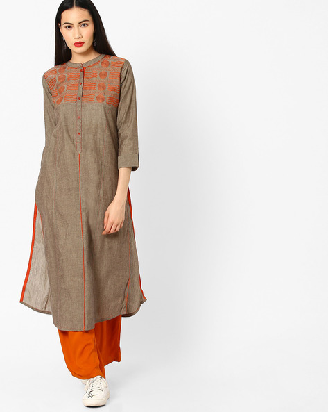 Straight Kurta With Machine Embroidery By KIMONO ( Grey )