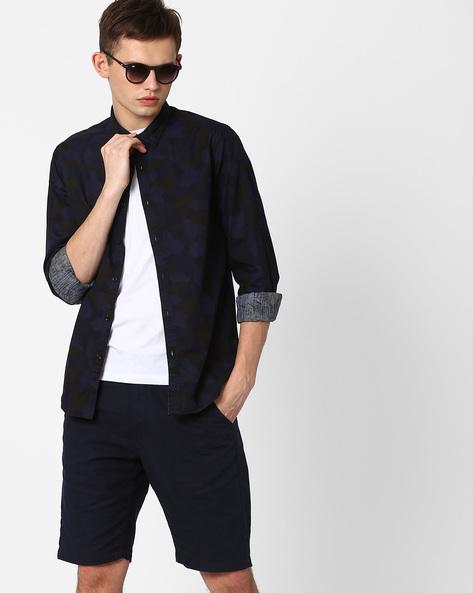 Camo Print Slim Fit Shirt By AJIO ( Navy )