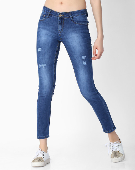 Slim Fit Jeans With Distressing By KRAUS ( Mediumblue )