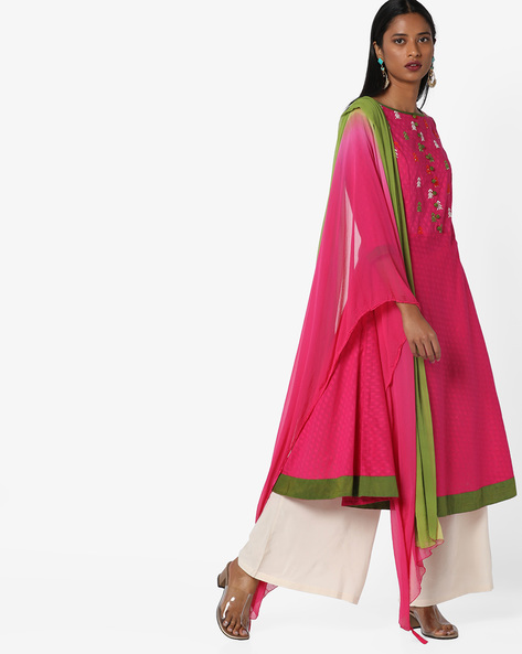 Kurta Suit Set With Dupatta By AJIO ( Fuchsia )