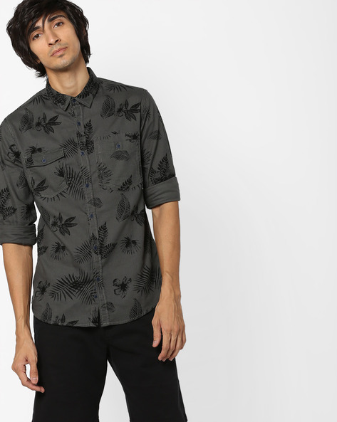 Tropical Print Shirt With Flap Pockets By AJIO ( Teal )