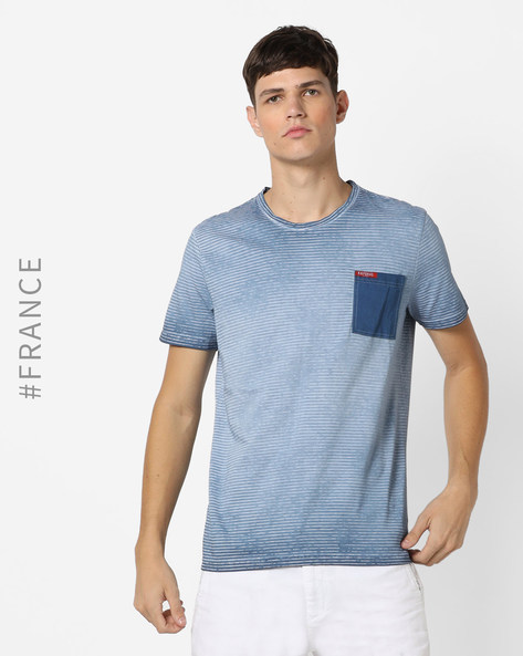 Striped Crew-Neck T-shirt With Contrast Patch Pocket By Kaporal ( Jeans )
