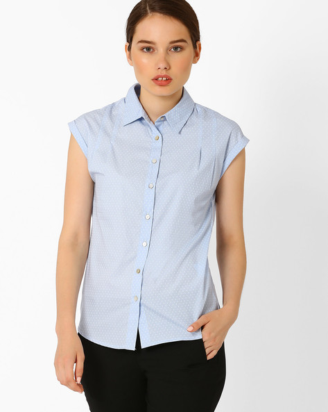 Polka Dot Shirt With Cap Sleeves By Annabelle By Pantaloons ( Blue )