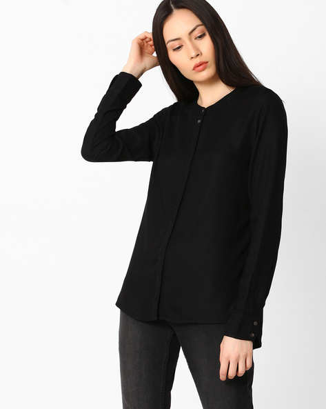 Shirt With Concealed Button Placket By Vero Moda ( Black )