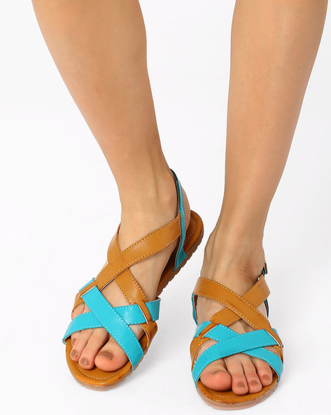 Sandals With Criss-Cross Straps By AJIO ( Blue )