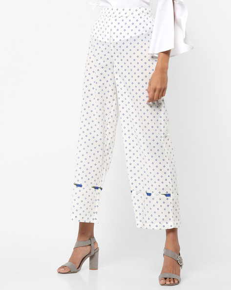 Printed Palazzos With Contrast Trim By AJIO ( Blue )