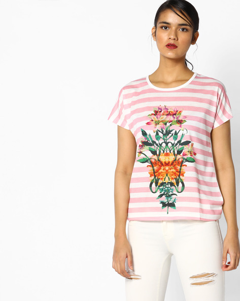 Floral Print Striped T-Shirt By Project Eve WW Casual ( White )