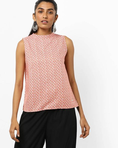 Geometric Print Sleeveless Top With Tie-Up Back By Pepe Jeans ( Red )