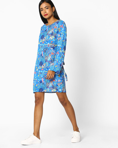 Shift Dress With Knotted Sleeves By AJIO ( Blue )