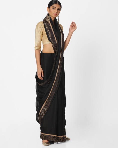 Saree With Floral Print Border By Majestic Silk ( Black )