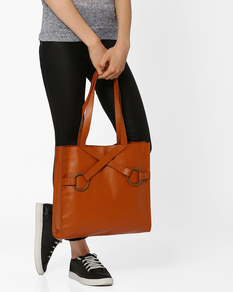 Tote Bag With Criss-Cross Detail By Pockit ( Brown )