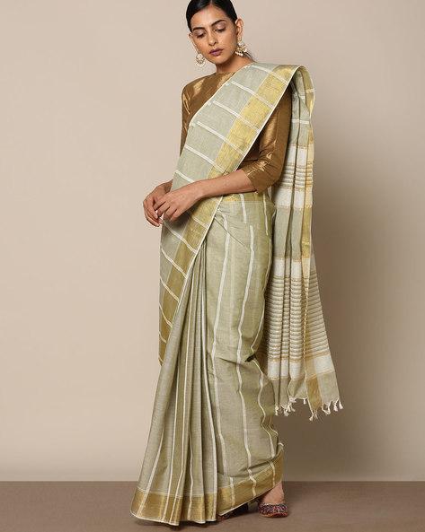 Textured Cotton Saree With Striped Pallu By Indie Picks ( Grey ) - 460118002001