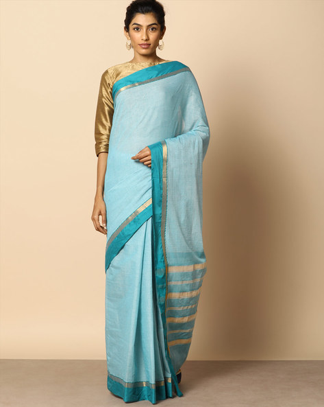 Kanchi Cotton Checked Saree With Woven Border By Indie Picks ( Blue )