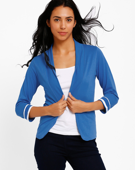 Blazer With Shawl Lapel By Style Quotient By Noi ( Blue )