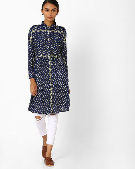 Chevron Print Kurta With Collar By Jiyaa ( Navy )